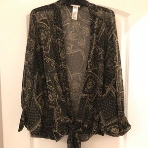 Free People sheet kimono with tie in front